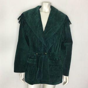 Vintage G4000 Genuine Leather Fringe Jacket M
